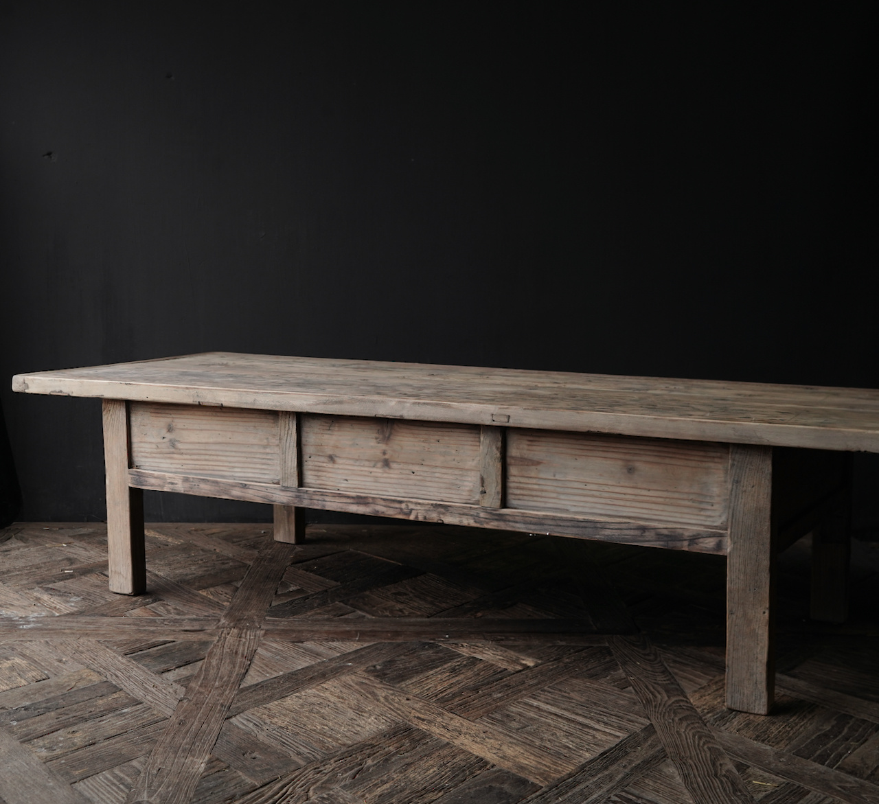 Old authentic wooden Coffee table with drawers-6