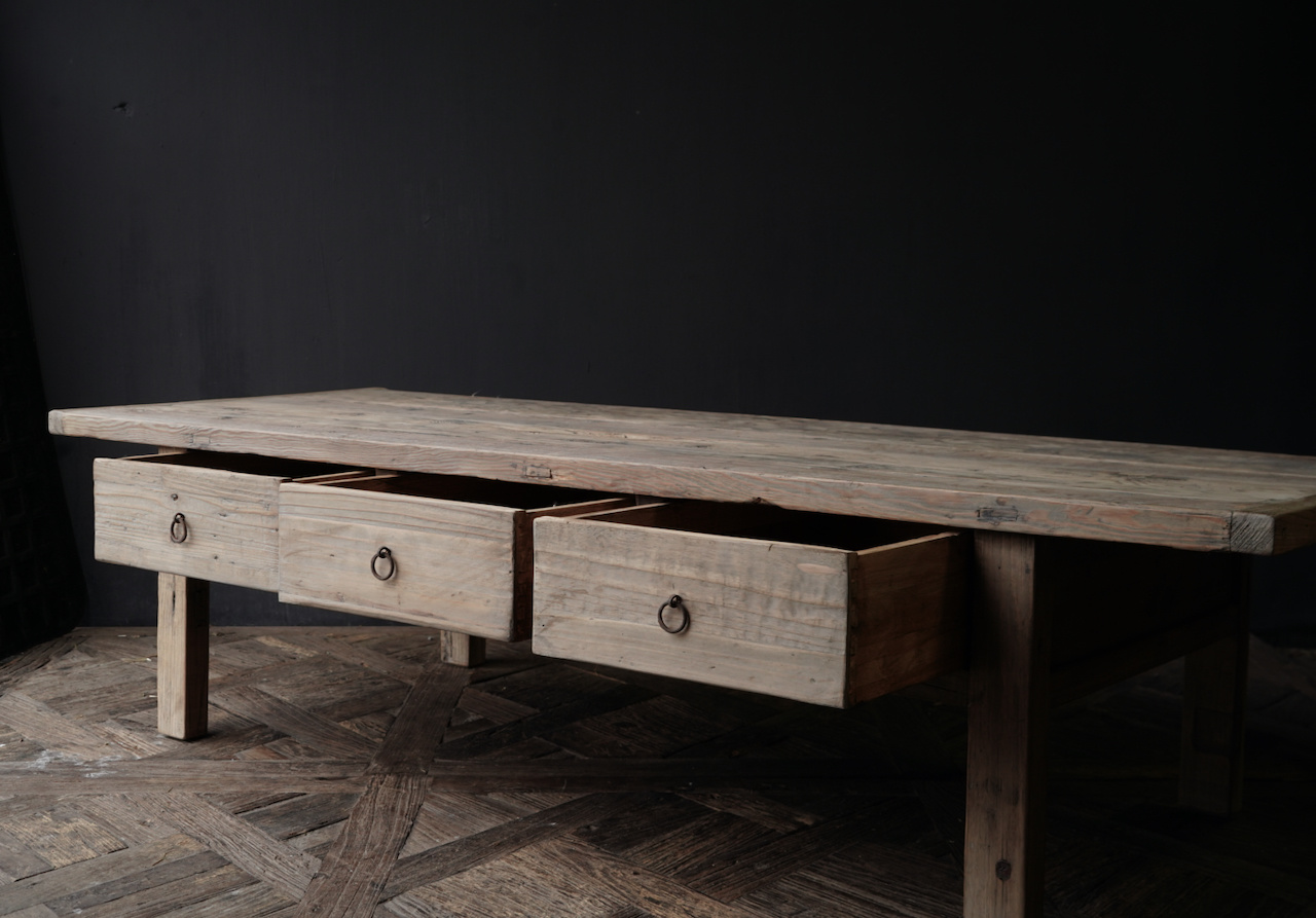 Old authentic wooden Coffee table with drawers-7