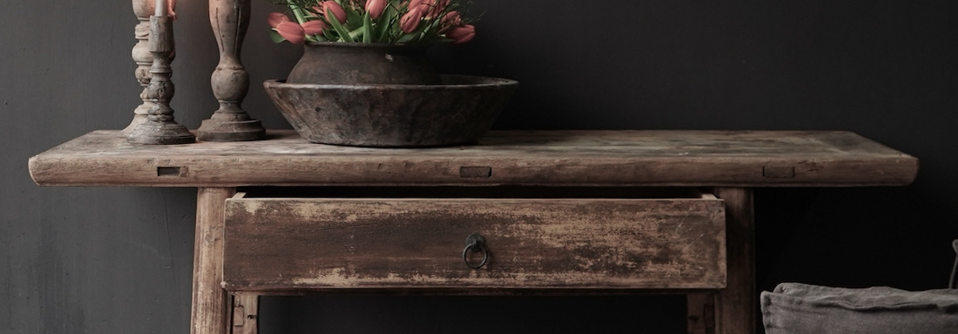 Authentic Sidetable or wall table with a drawer