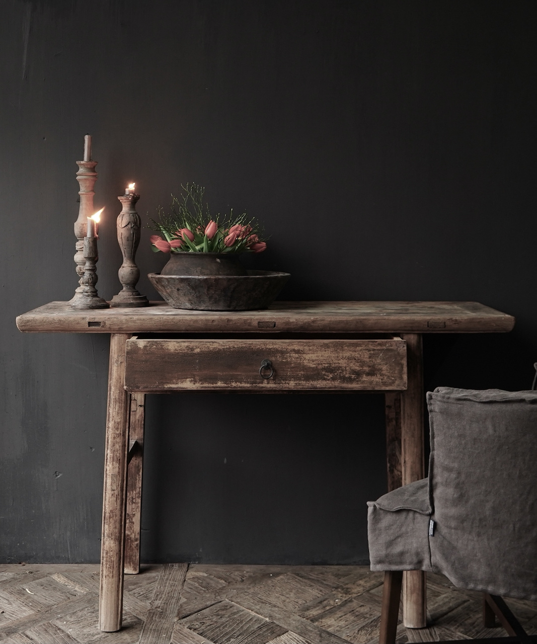 Authentic Sidetable or wall table with a drawer-1