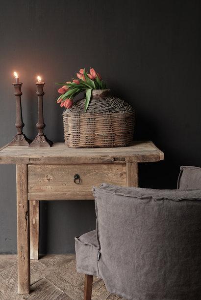 Oud ,Stoer Elmwood/iepen houten side-table  Wandtafel