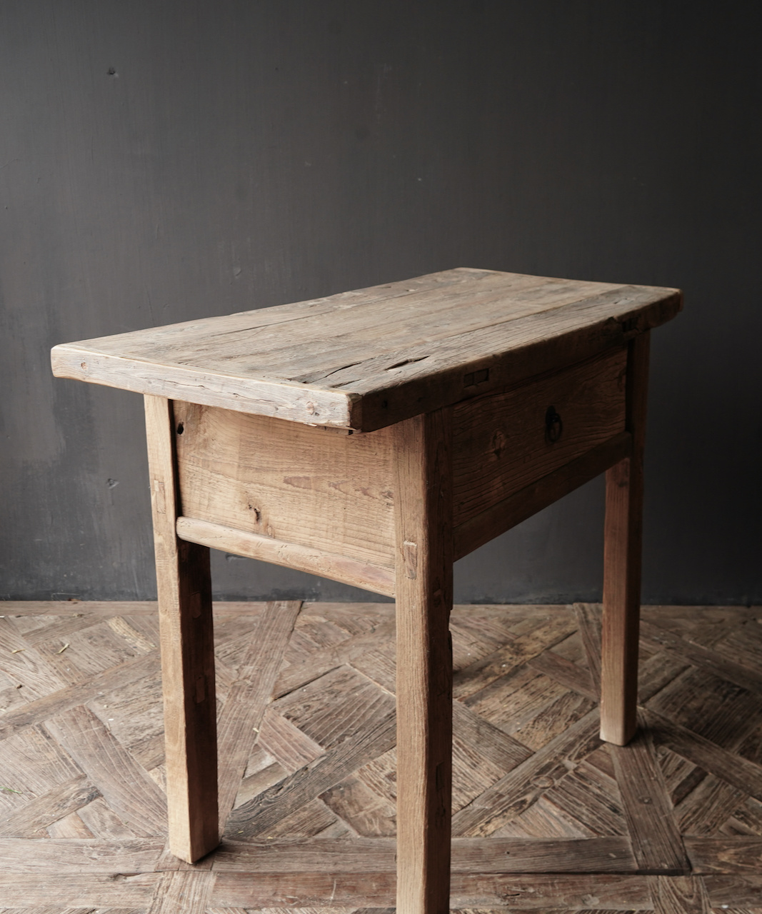 Old, Stoer Elmwood / elm wooden side-table Wall table with drawer-5