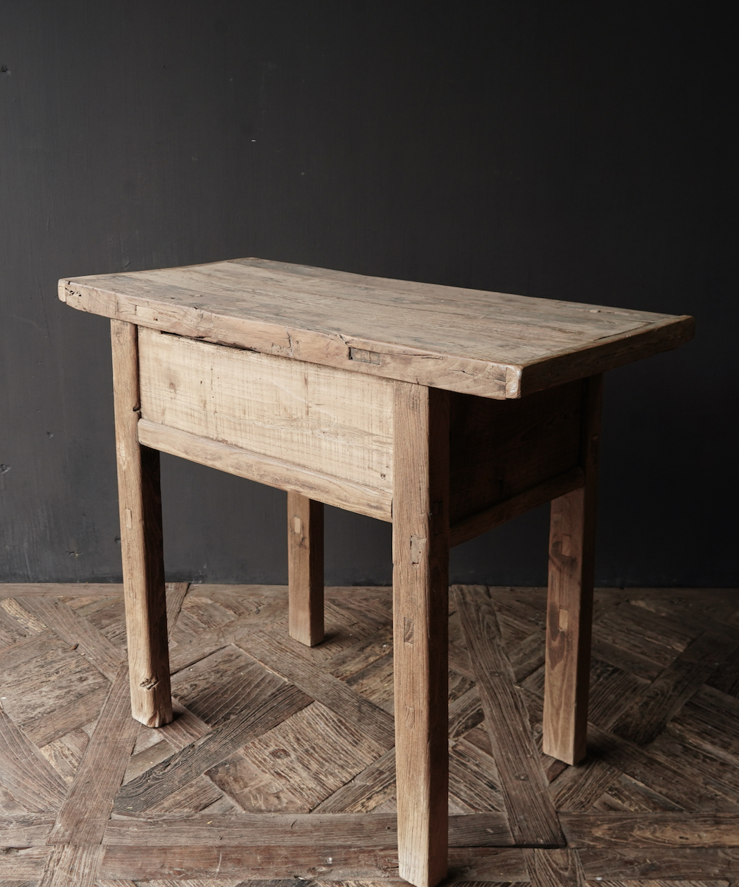 Old, Stoer Elmwood / elm wooden side-table Wall table with drawer-6
