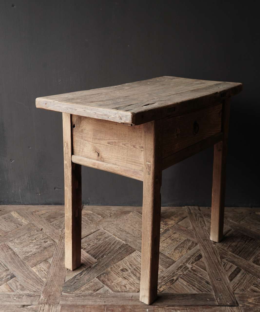 Old, Stoer Elmwood / elm wooden side-table Wall table with drawer-8
