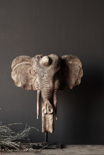 Wooden elephant head on iron stand