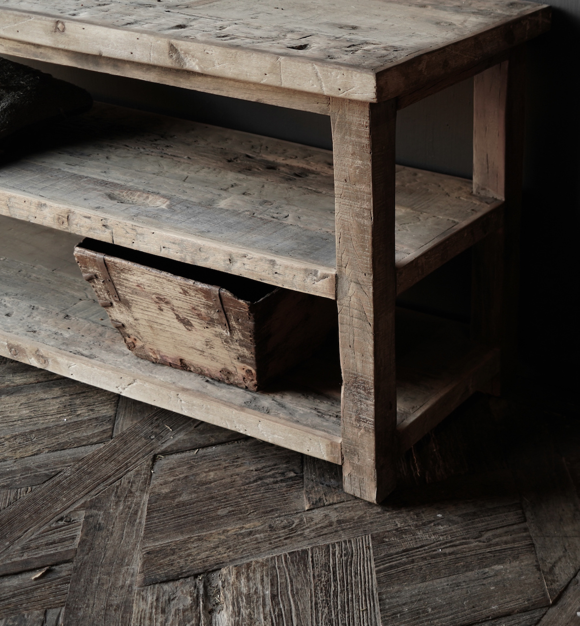 TV furniture / wall table of old used wood-5