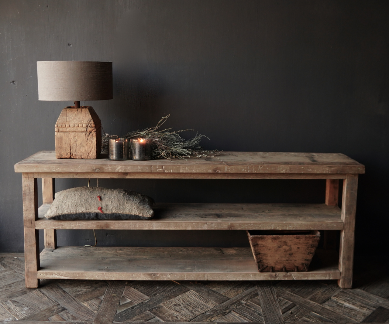 TV furniture / wall table of old used wood-3