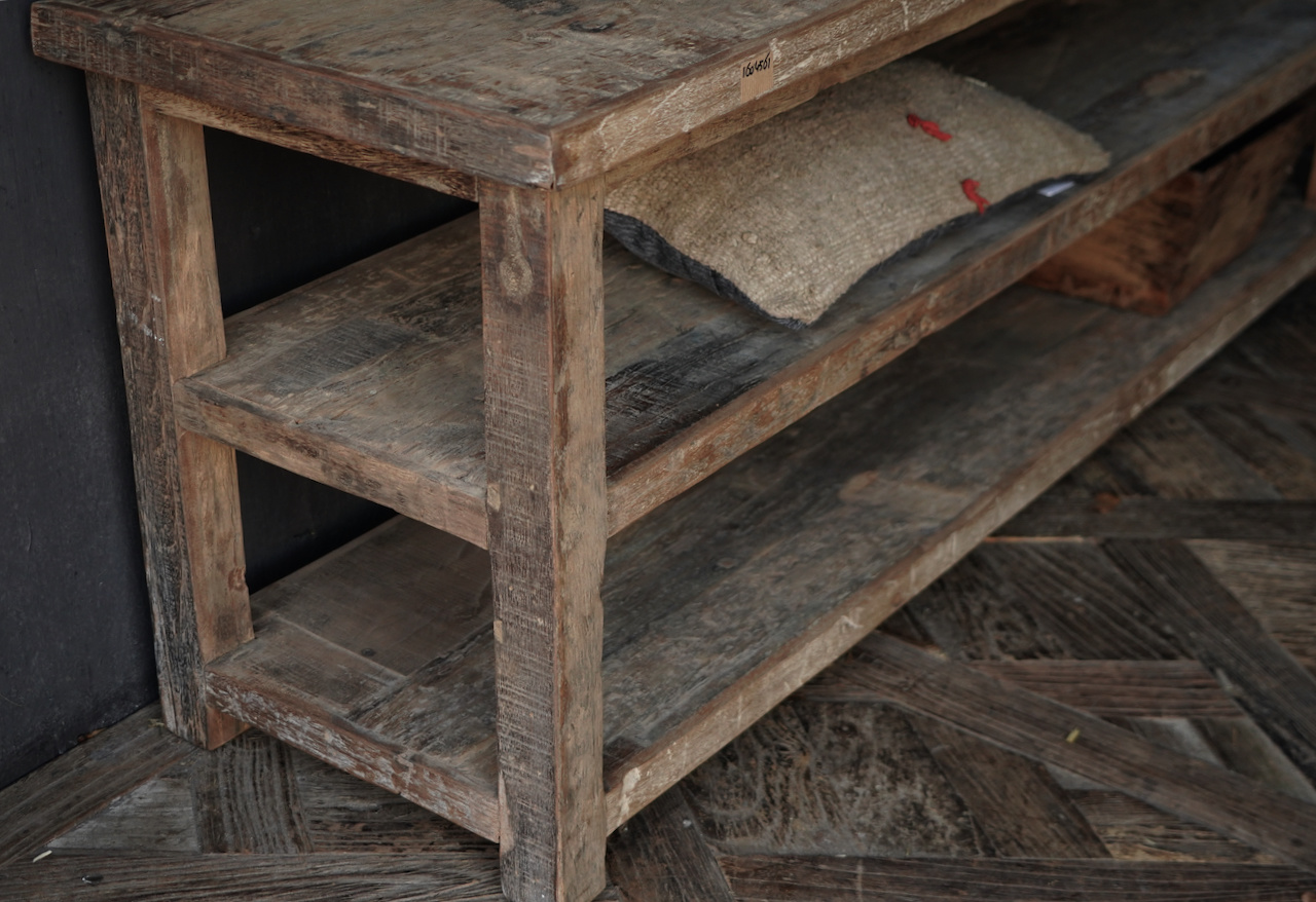 TV furniture / wall table of old used wood-4