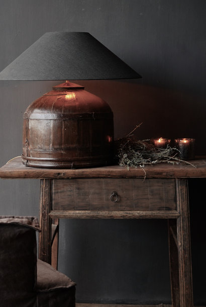 Table Lamp made from an old authentic Indian water bucket