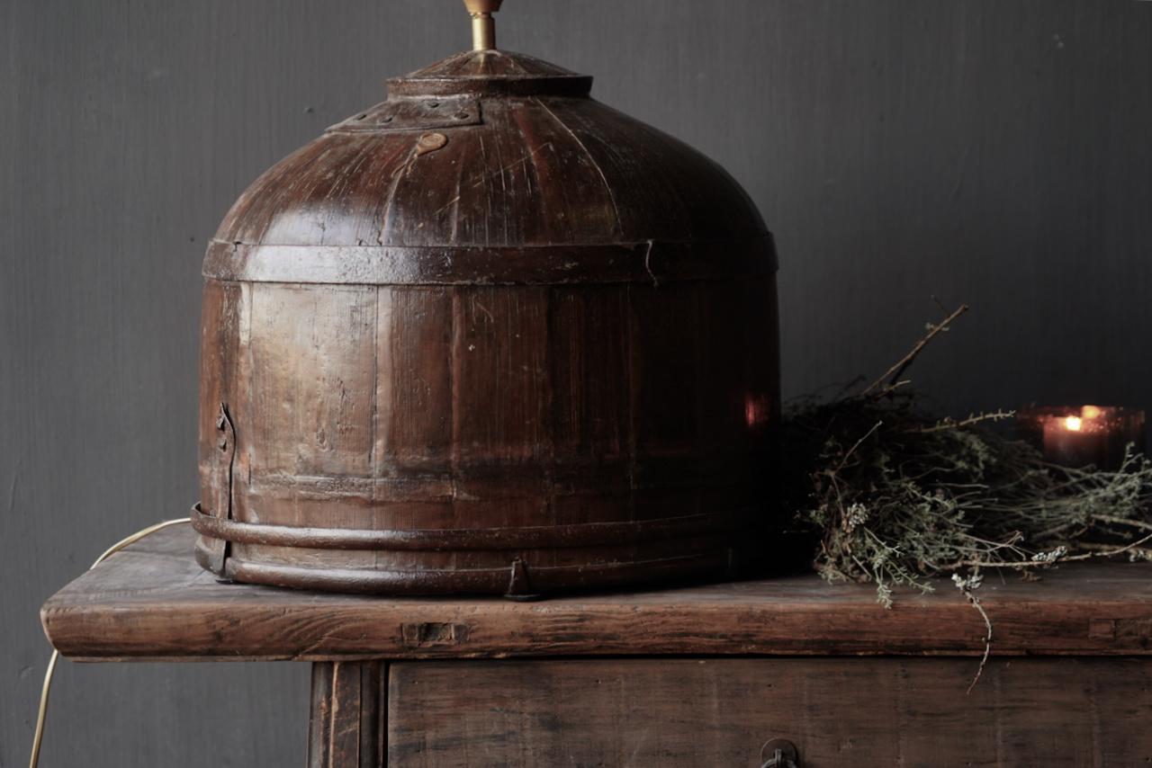 Tafel Lamp gemaakt van een oude authentieke Indische water Emmer-5