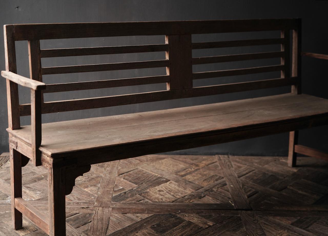 Authentiek oude houten Bank-4