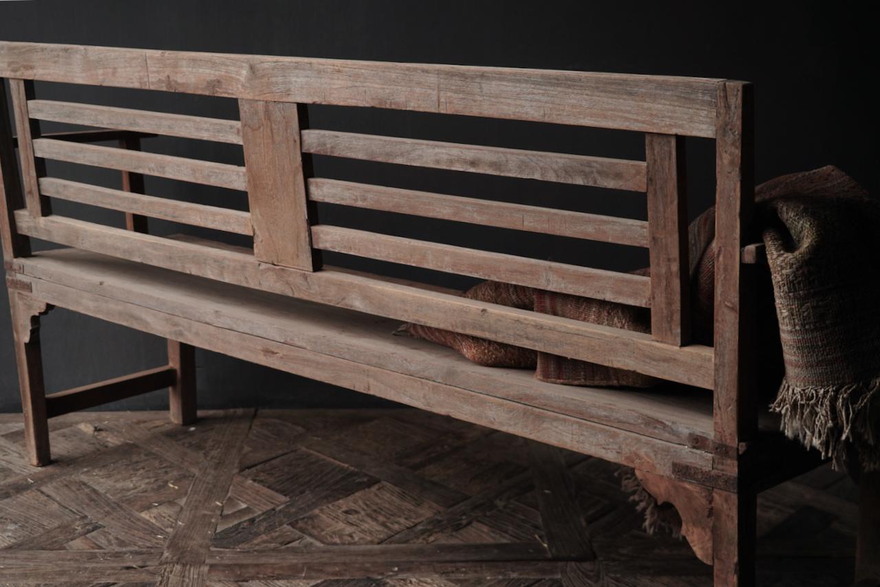 Authentiek oude houten Bank-6