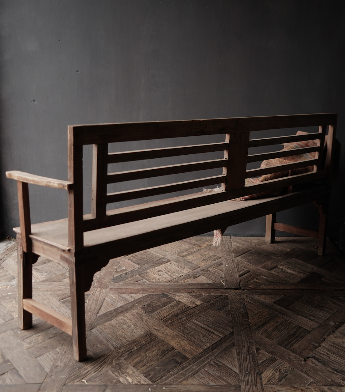 Authentiek oude houten Bank-7