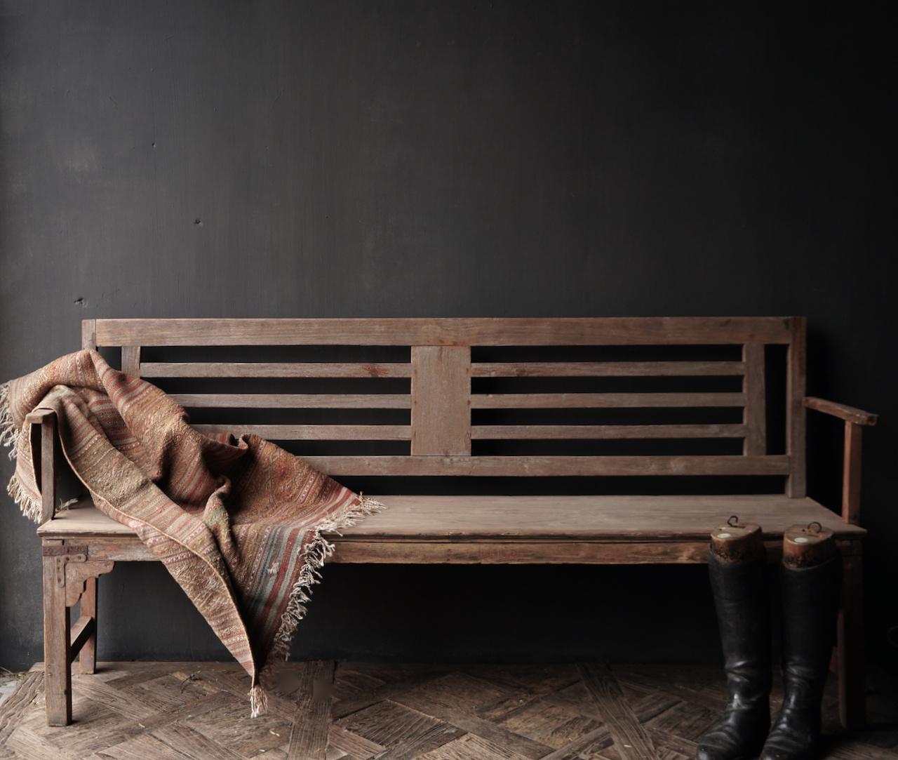 Authentiek oude houten Bank-3