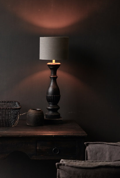 Dunkelschwarz / Braun Holzlampensockel