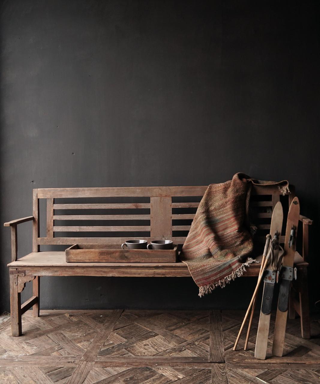 Authentiek oude houten Bank-1