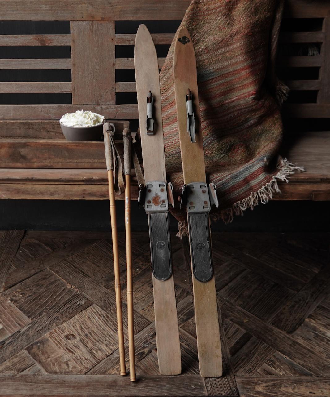 Set Antiek houten ski's /Skis-3