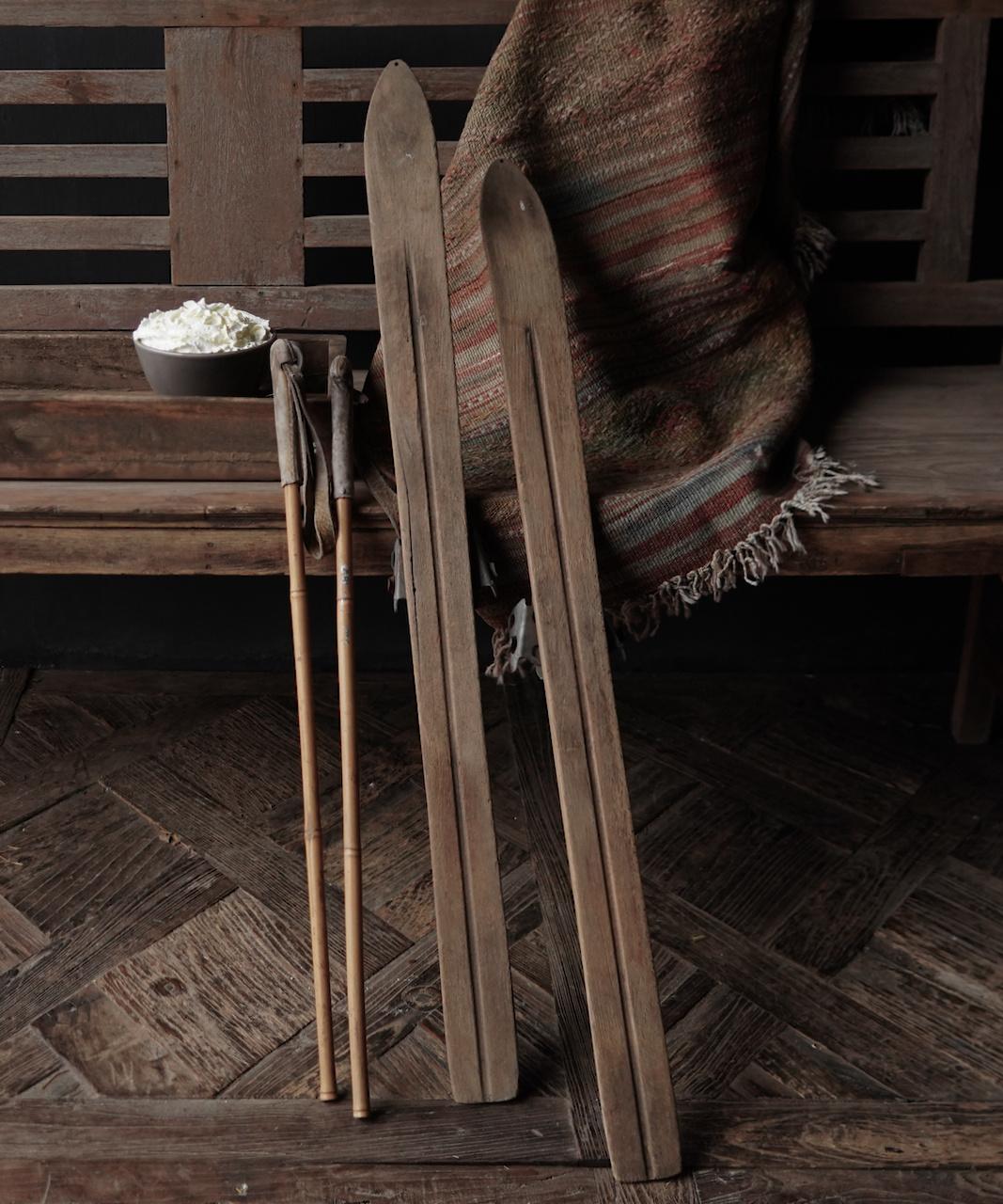 Set Antiek houten ski's /Skis-4