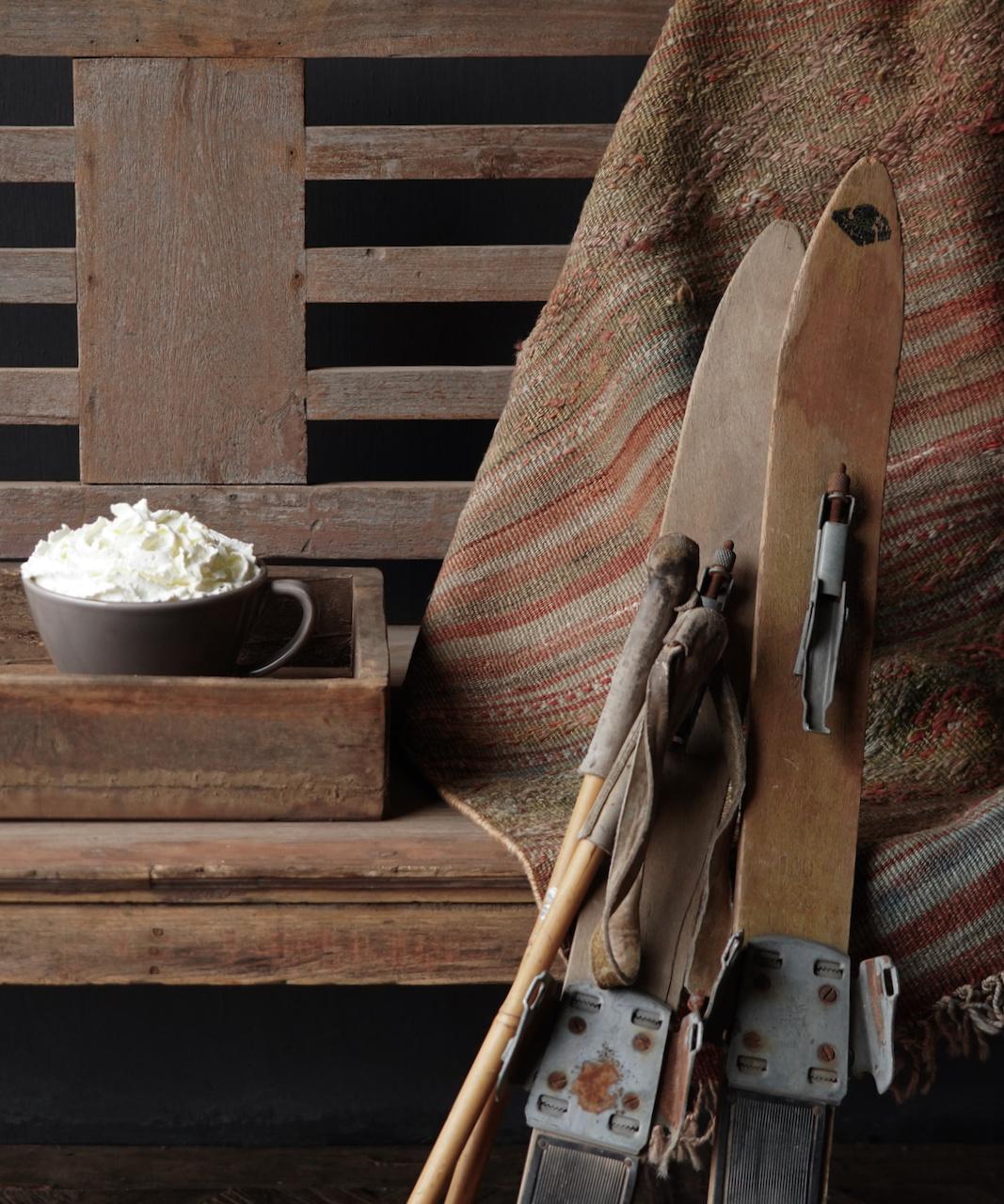 Set Antiek houten ski's /Skis-5