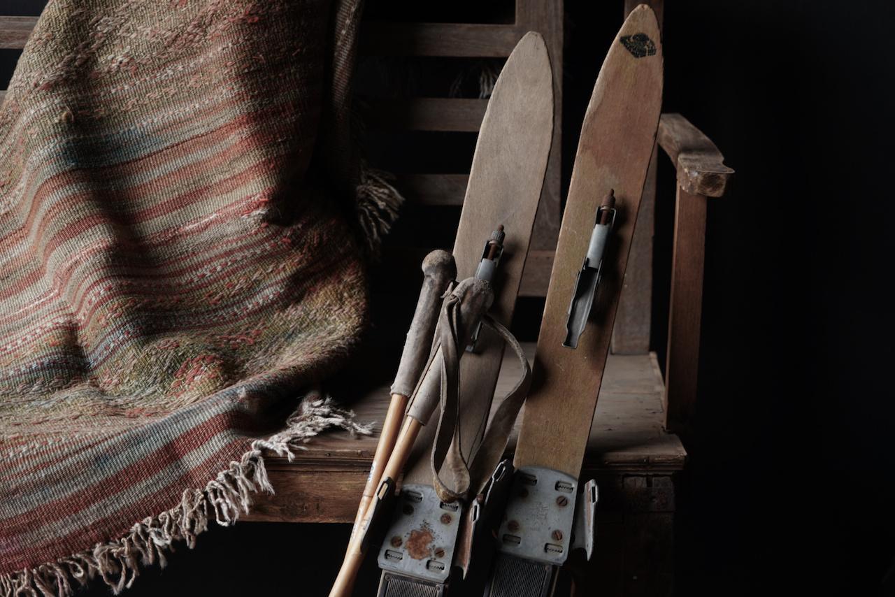 Set Antiek houten ski's /Skis-7