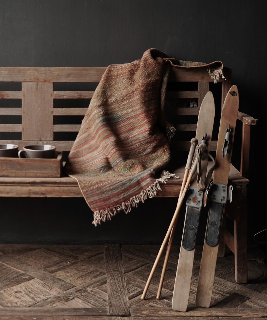 Set Antiek houten ski's /Skis-1