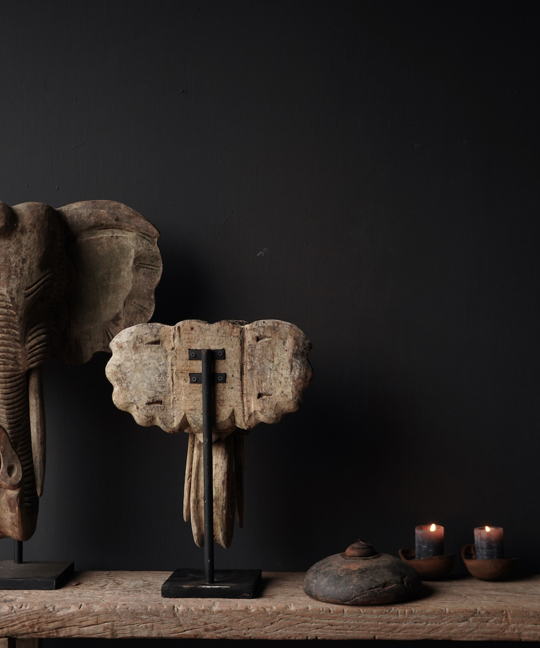 Wooden elephant head on iron stand-5