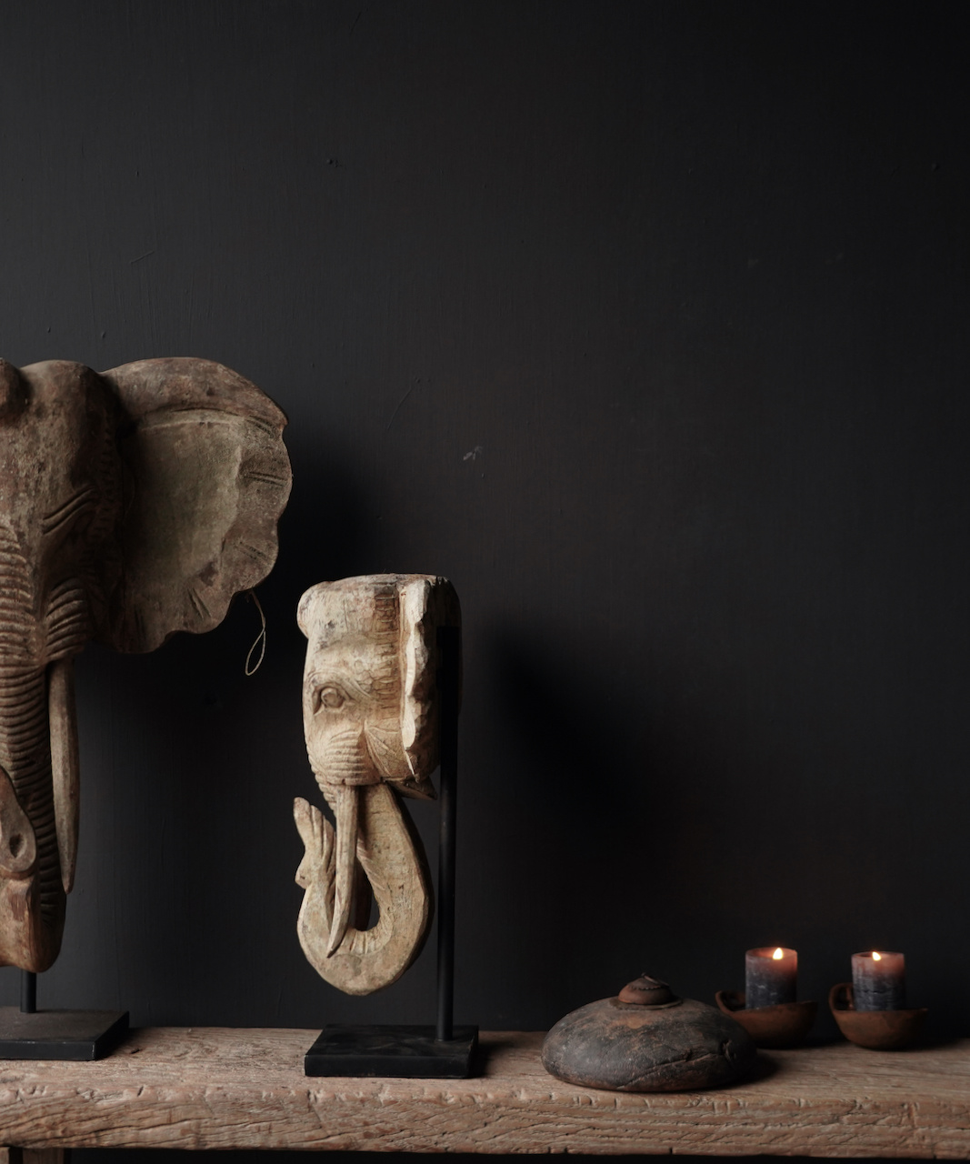 Wooden elephant head on iron stand-6