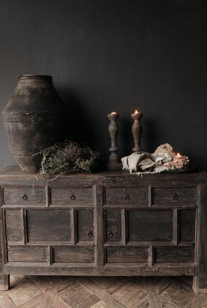 Oude Authentieke Zwart/Bruin  Dressoir