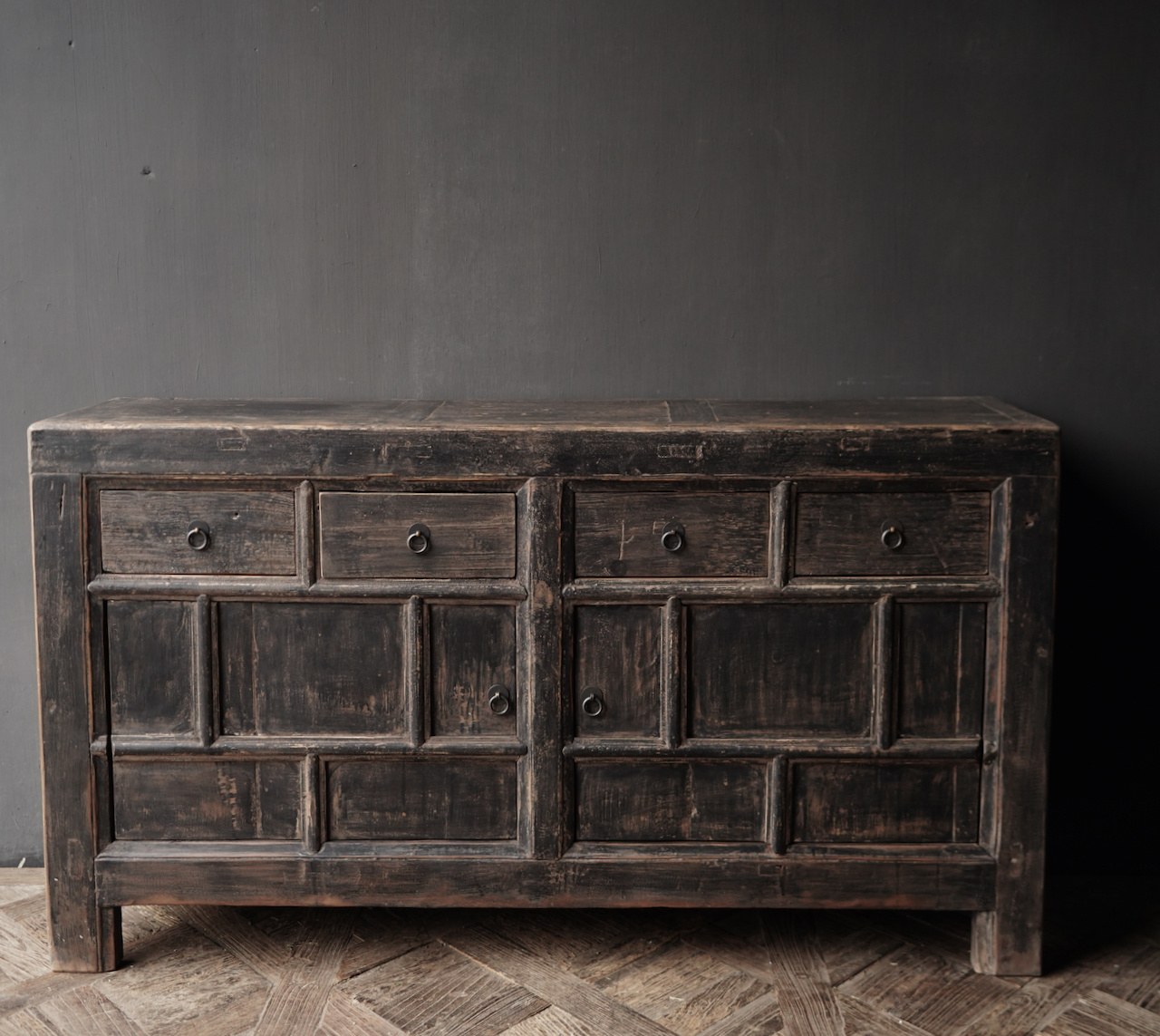 Old Authentic Black / Brown Sideboard with two doors and four drawers-2