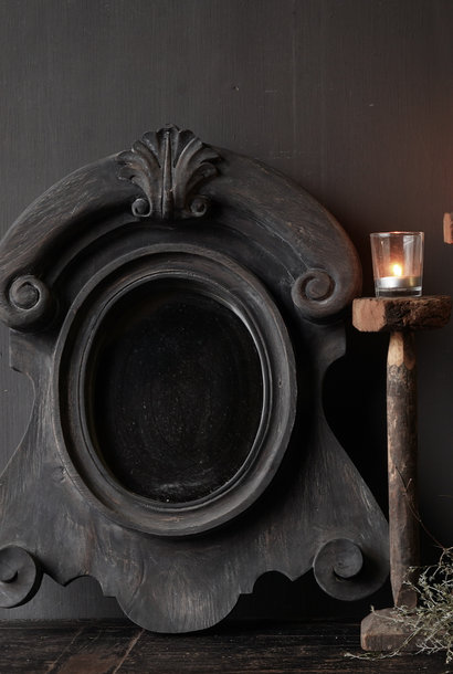 Ox eye Mirror made of wood in the color dark gray