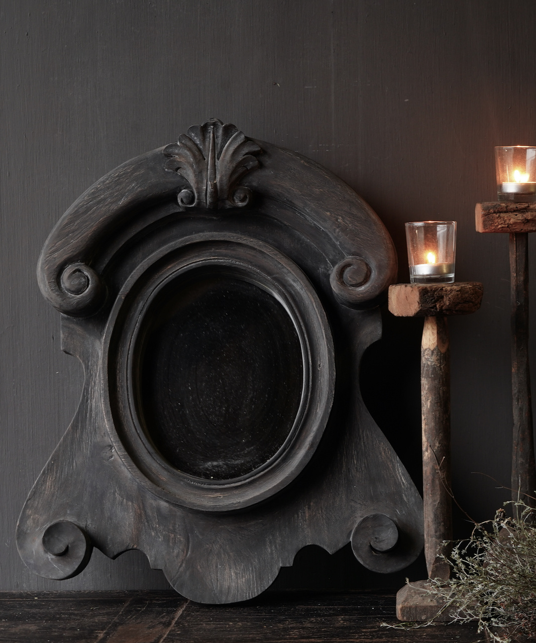 Ox eye Mirror made of wood in the color dark gray-1