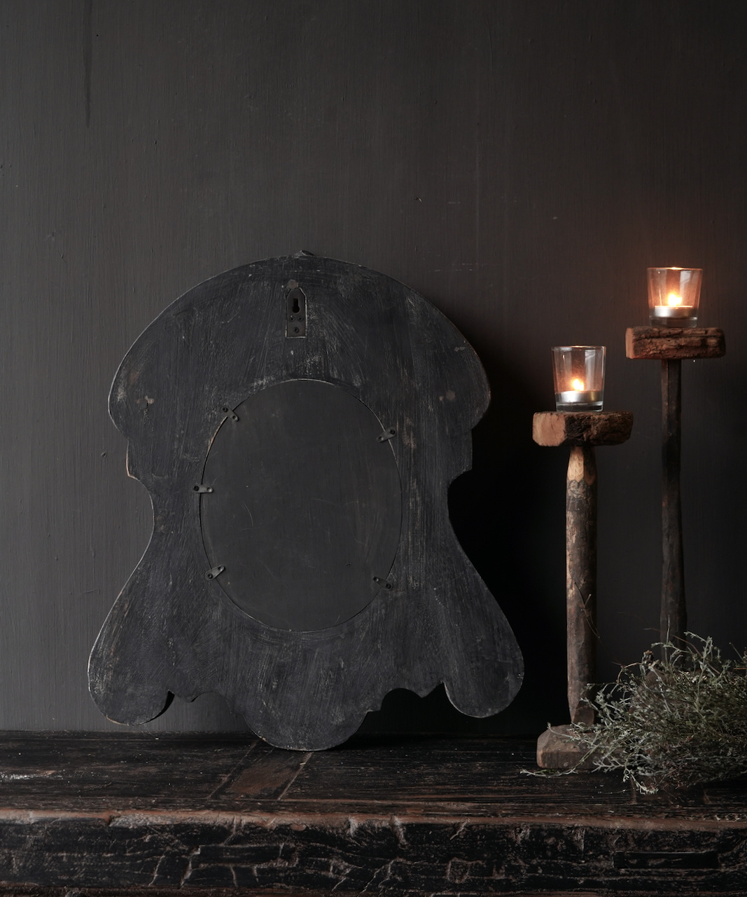 Ox eye Mirror made of wood in the color dark gray-4