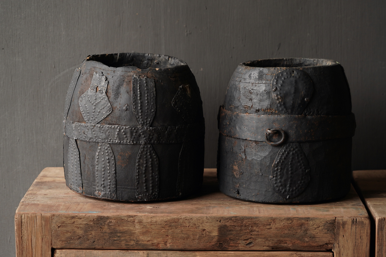 Nepalese old wooden Pot with iron decoration-4
