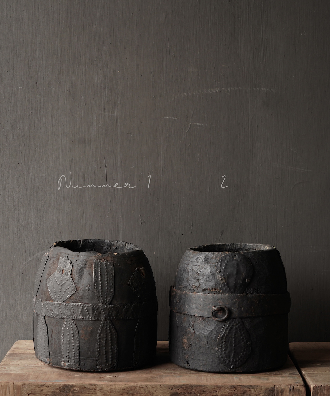 Nepalese old wooden Pot with iron decoration-3