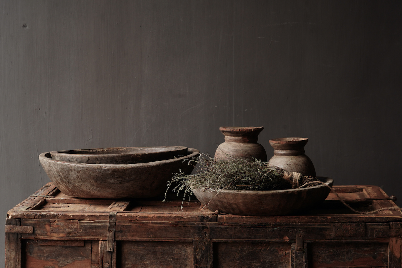 Authentieke oude houten Nepalese  schaal-1