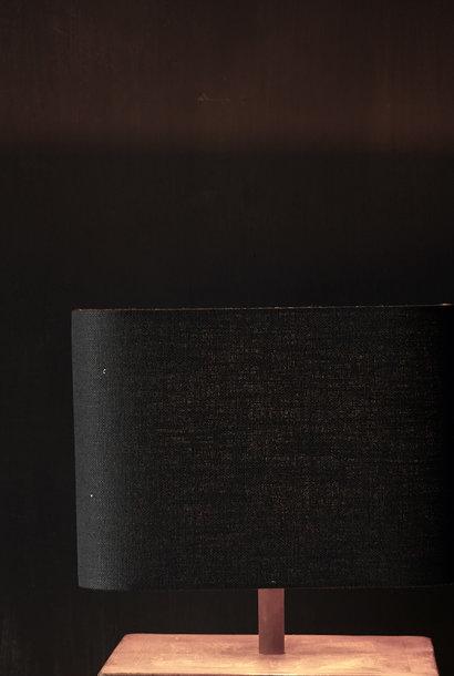 Quadratischer schwarzer Lampenschirm aus Leinen