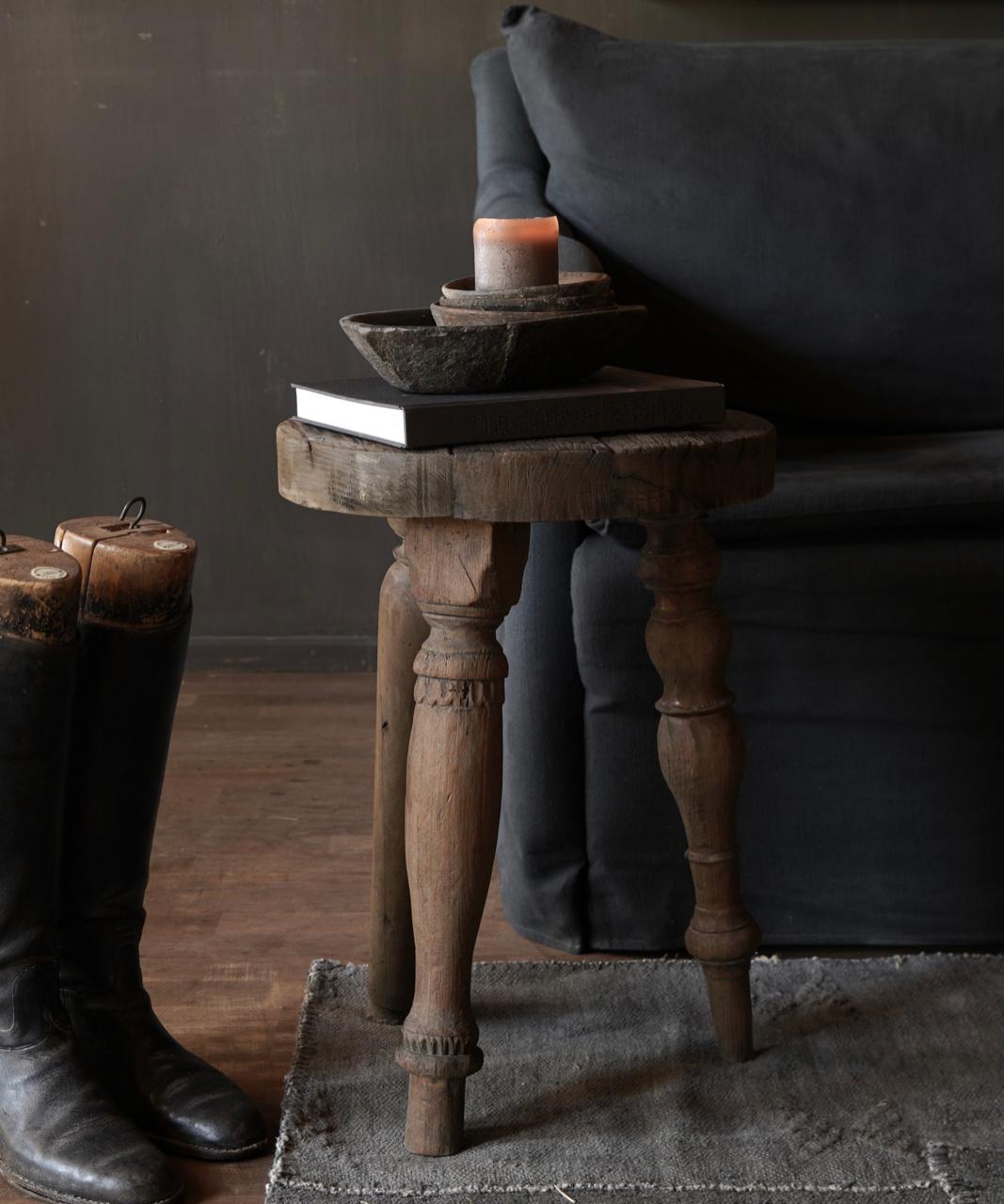 Uniek vierkant stoer robuust houten bijzet tafeltje met verschillende poten-5