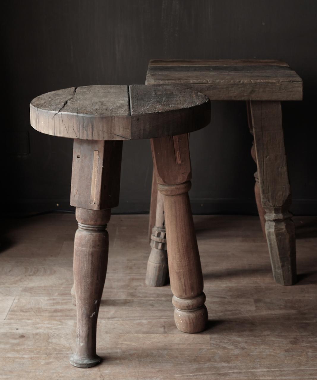 Uniek vierkant stoer robuust houten bijzet tafeltje met verschillende poten-6