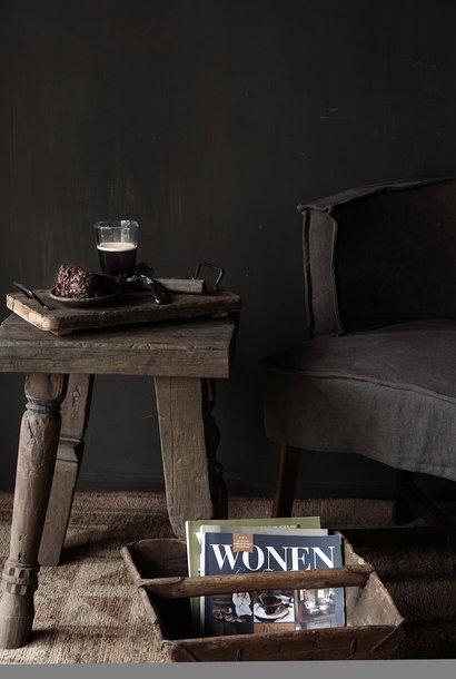 Uniek vierkant stoer robuust houten bijzet tafeltje