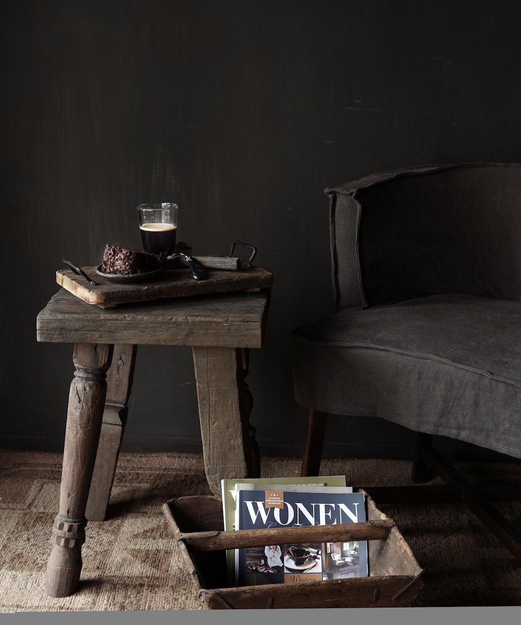 Uniek vierkant stoer robuust houten bijzet tafeltje met verschillende poten-1