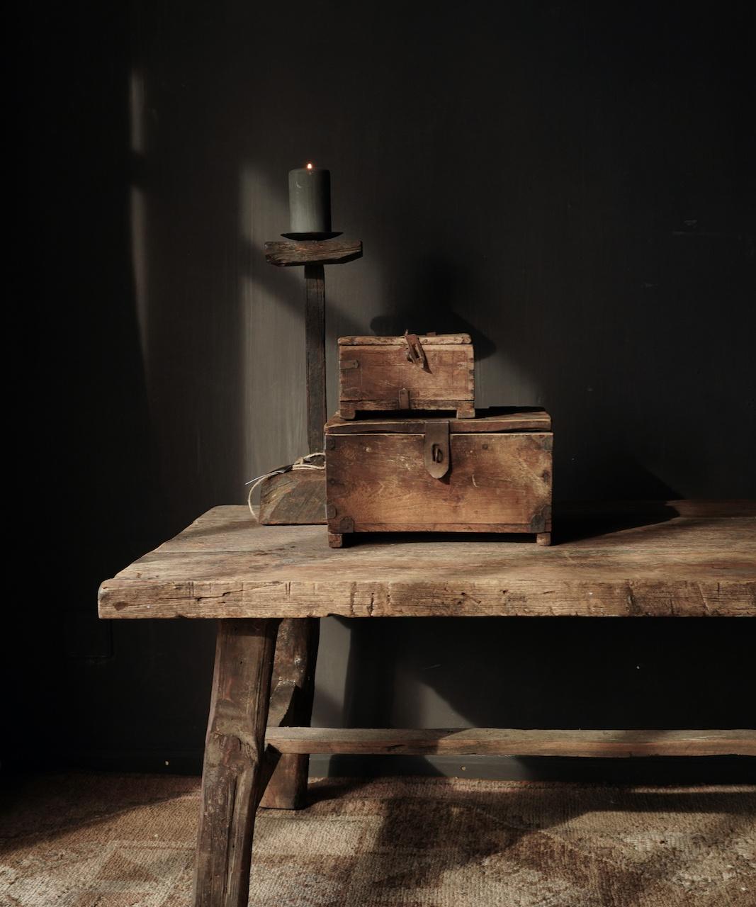 Oude Authentieke houten kistje-1