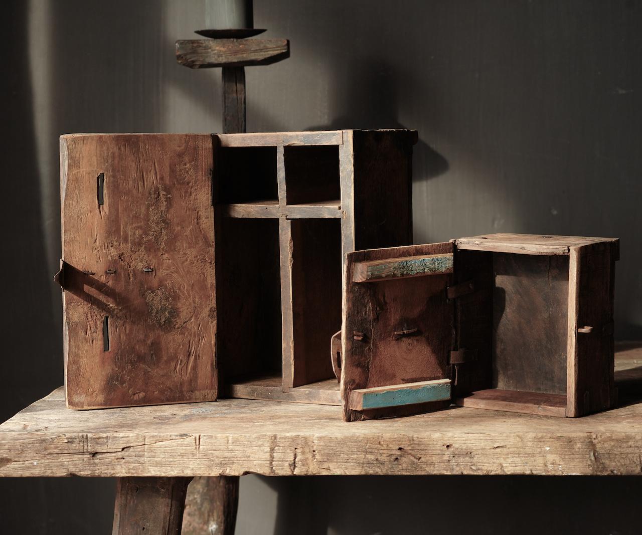 Oude Authentieke houten kistje-4