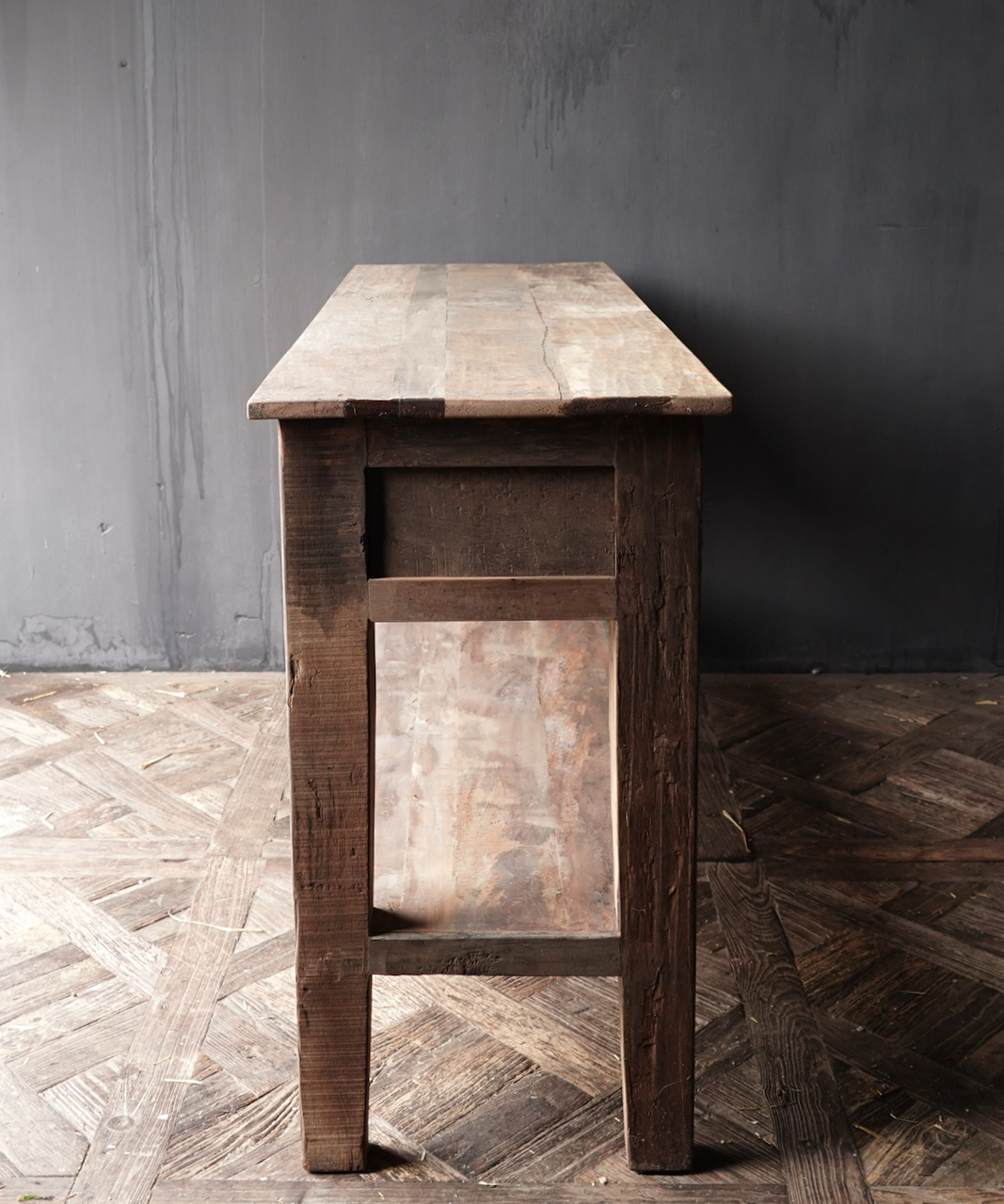 Stoer Robust old wooden side table or wall table with three drawers-4