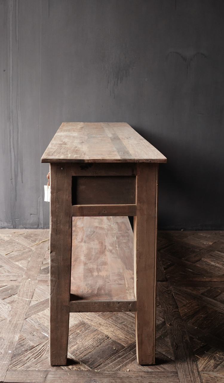Stoer Robust old wooden side table or wall table with three drawers-6