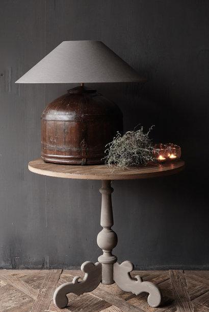 Wine table with matt gray leg with oak top