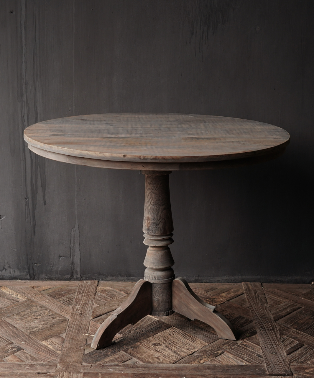 Tough round table made of old used wood-2