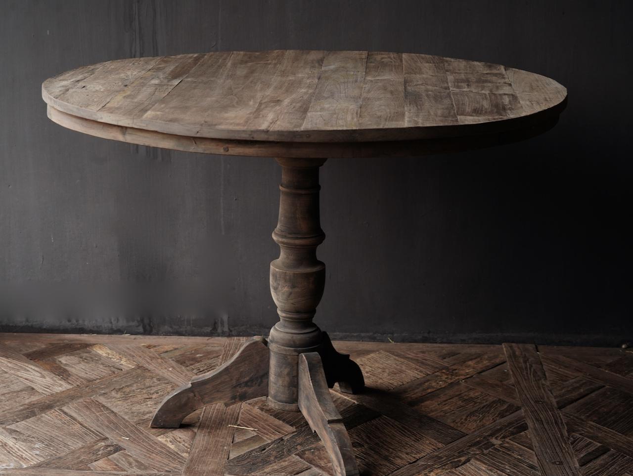 Cooler runder Tisch aus altem gebrauchtem Holz - Kopie-2