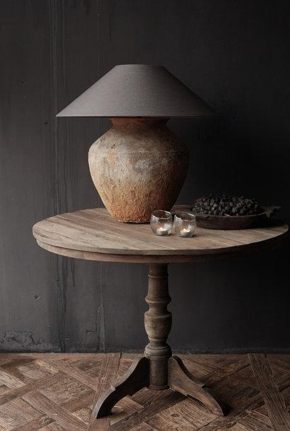 Robuster runder Weintisch aus altem gebrauchtem Holz - Kopie