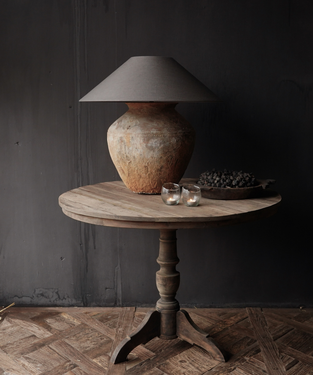 Cool round table made of old used wood - Copy-1