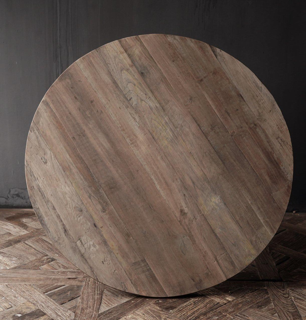 Cooler runder Tisch aus altem gebrauchtem Holz - Kopie-3